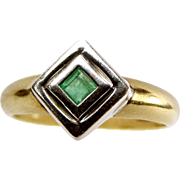 Vintage 9ct Yellow & White Gold & Emerald RING