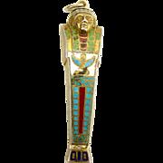 Vintage 1920's Egyptian SARCOPHAGUS 800 Silver Gilt Propelling PENCIL Enamel PENDANT