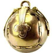 "Vintage 9ct Gold & Silver MASONIC BALL ORB Opens Individual 'ARMS"" Charm FOB Pendant"
