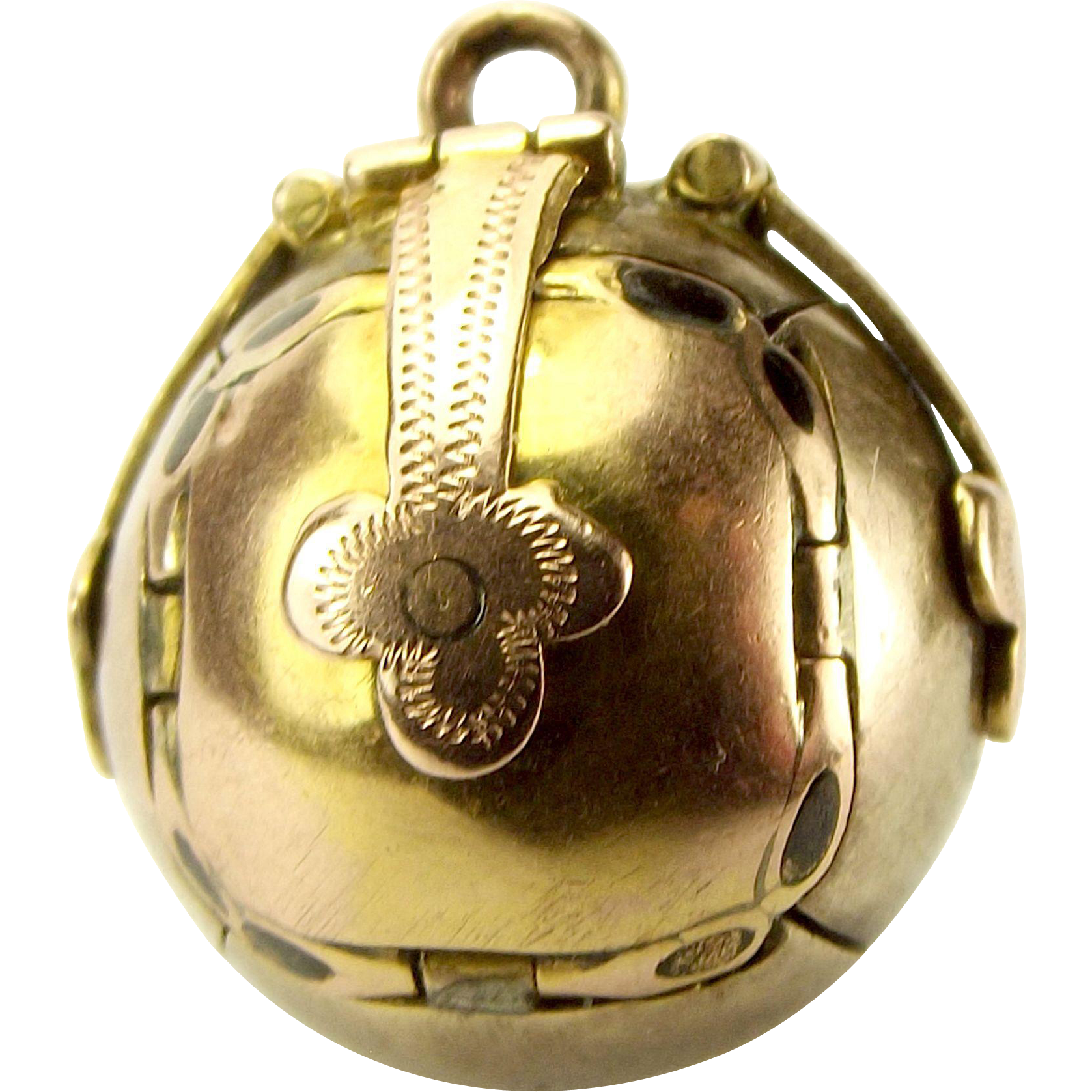 """Vintage 9ct Gold & Silver MASONIC BALL ORB Opens Individual 'ARMS"""" Charm FOB Pendant"""