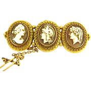 Victorian 15ct Gold Triple CAMEO Brooch Etruscan Mounts