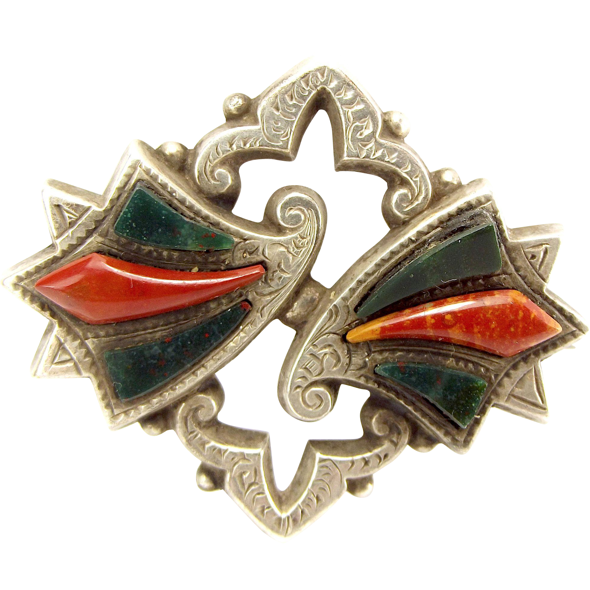 Victorian Scottish AGATE & Sterling Silver Brooch Pin Antique
