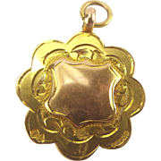 Vintage 1928 SCALLOP Edge 9ct Yellow & Rose Gold Pendant/FOB/Charm