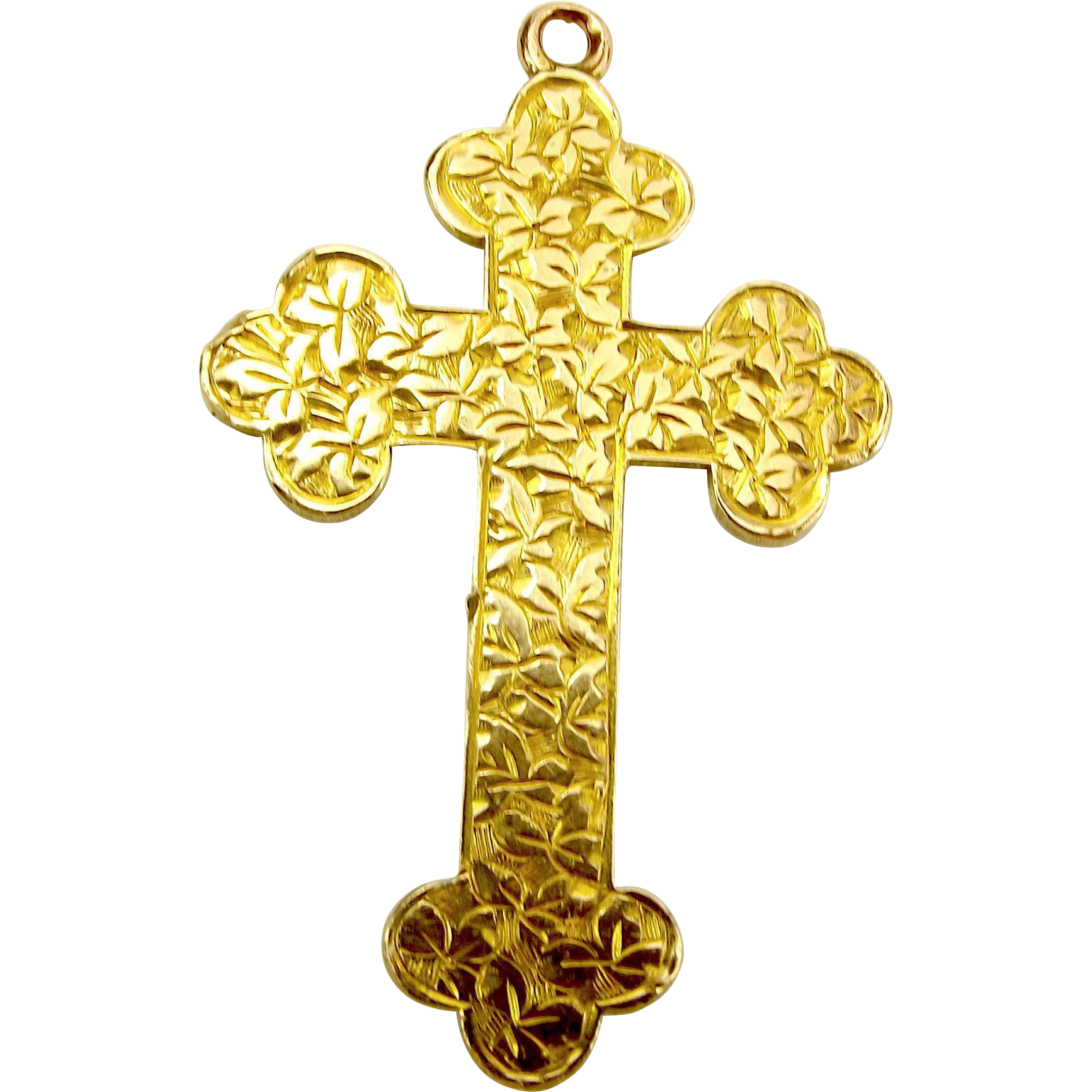 1919 Vintage 9ct Gold CROSS Pendant Hand Chased IVY Leaves