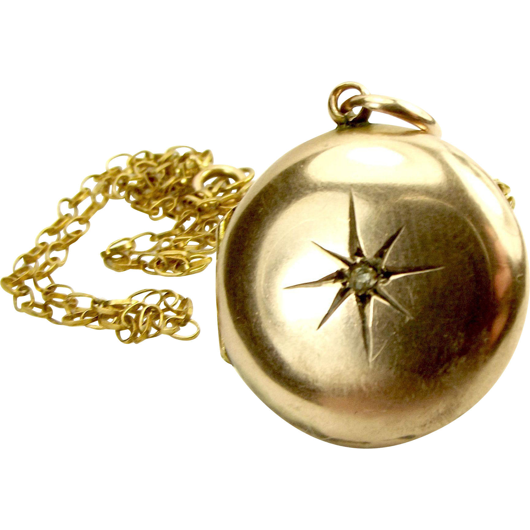 "Edwardian 9ct Gold LOCKET Paste STAR Burst 17"" Chain"