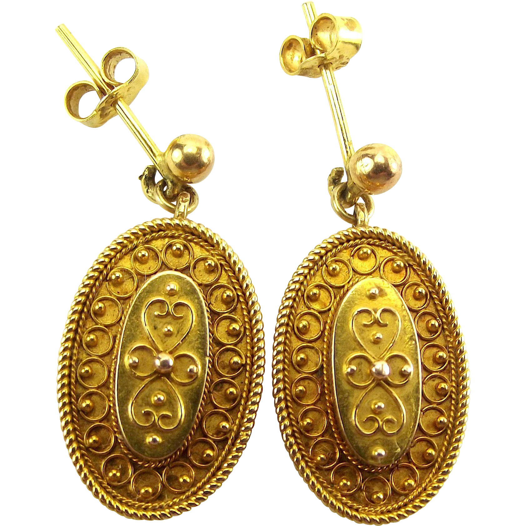 RARE Victorian 20ct Gold ETRUSCAN Style Earrings