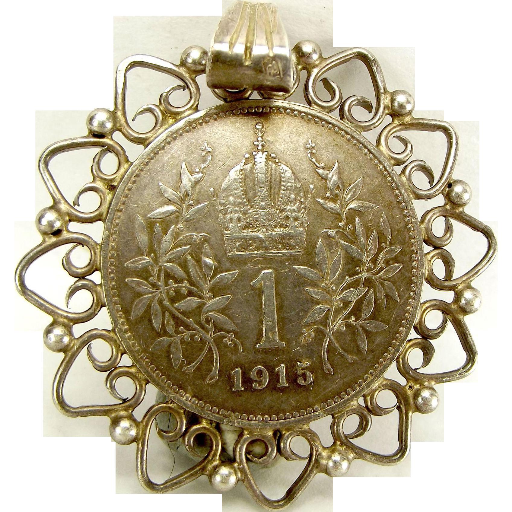 Antique 1915 AUSTRIAN Silver 1 CORONA Coin Pendant Ornate Mount Franz Joseph