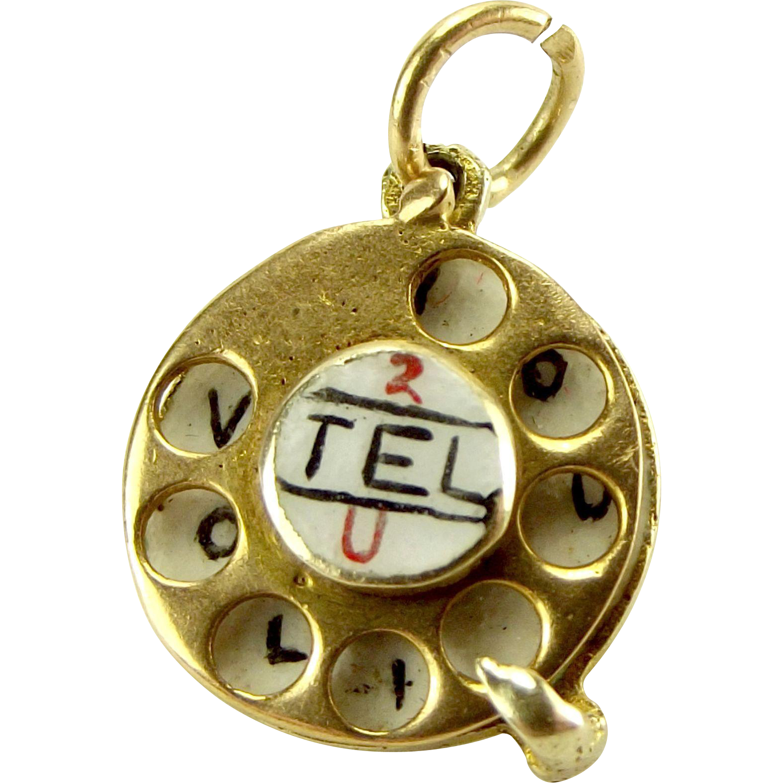 Vintage 9ct Gold & Enamel TELEPHONE DIAL Charm Moves 2 Tel U I Love You