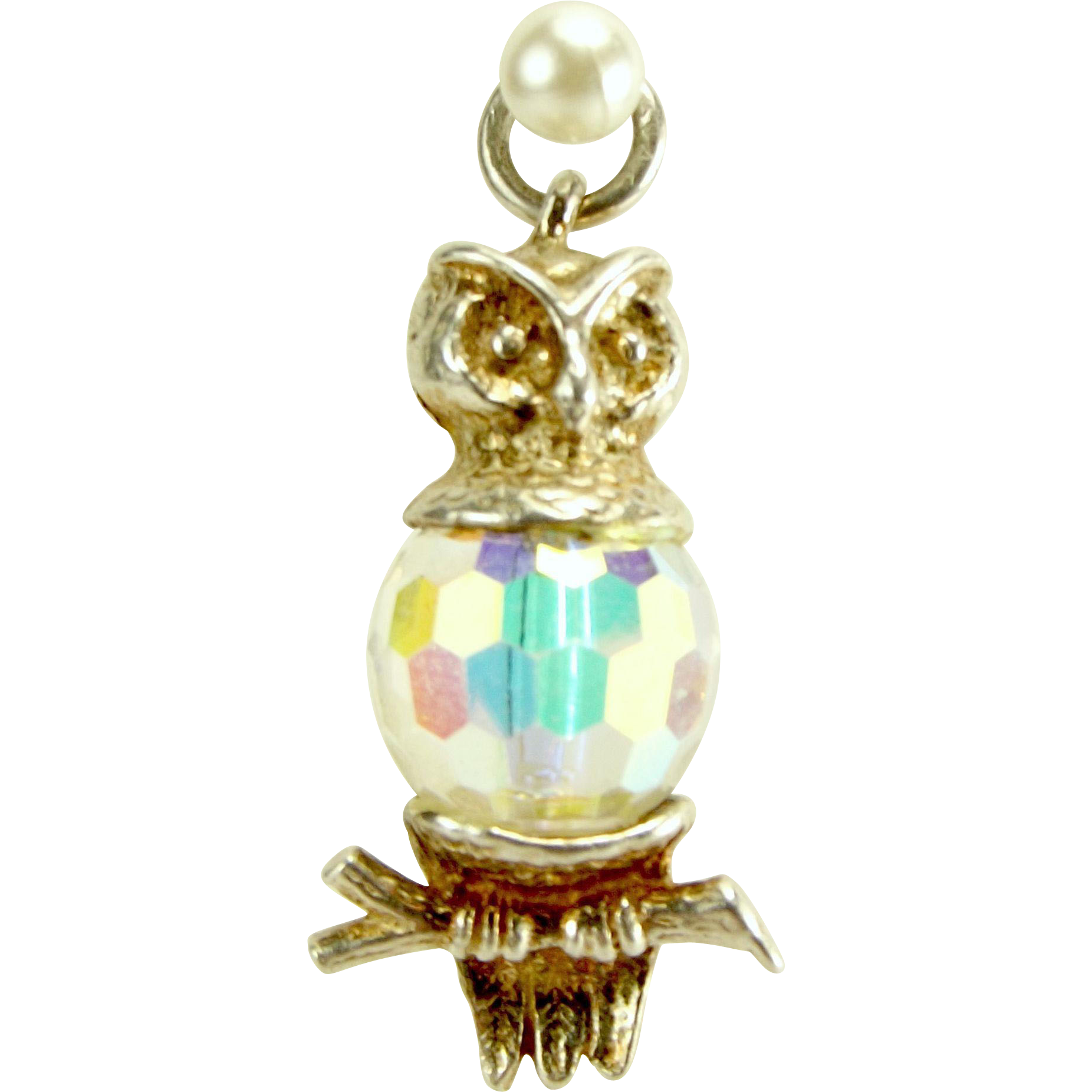 Vintage Silver & Glass Crystal OWL On BRANCH Charm