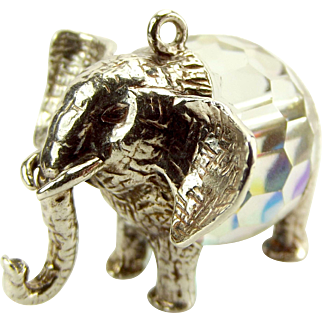 Large Vintage Silver & Crystal ELEPHANT Charm/FOB/Pendant
