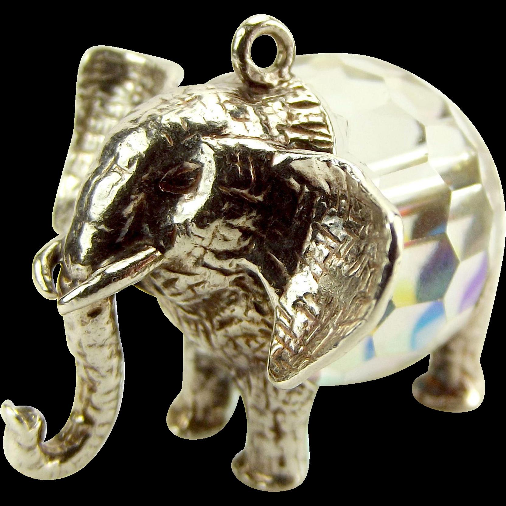 Large Vintage Silver & Crystal ELEPHANT Charm/FOB/Pendant