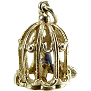 Vintage Silver BIRDCAGE Charm Opens BLUE Enamel Bird