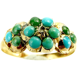 Victorian 9ct Gold, Turquoise & Diamond FORGET ME NOT Ring