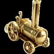 Vintage 9ct Gold Traction STEAM Engine Charm 1972 WHEELS Turn