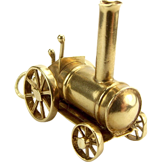 Vintage 9ct Gold Traction STEAM Engine Charm 1972 WHEELS Turn