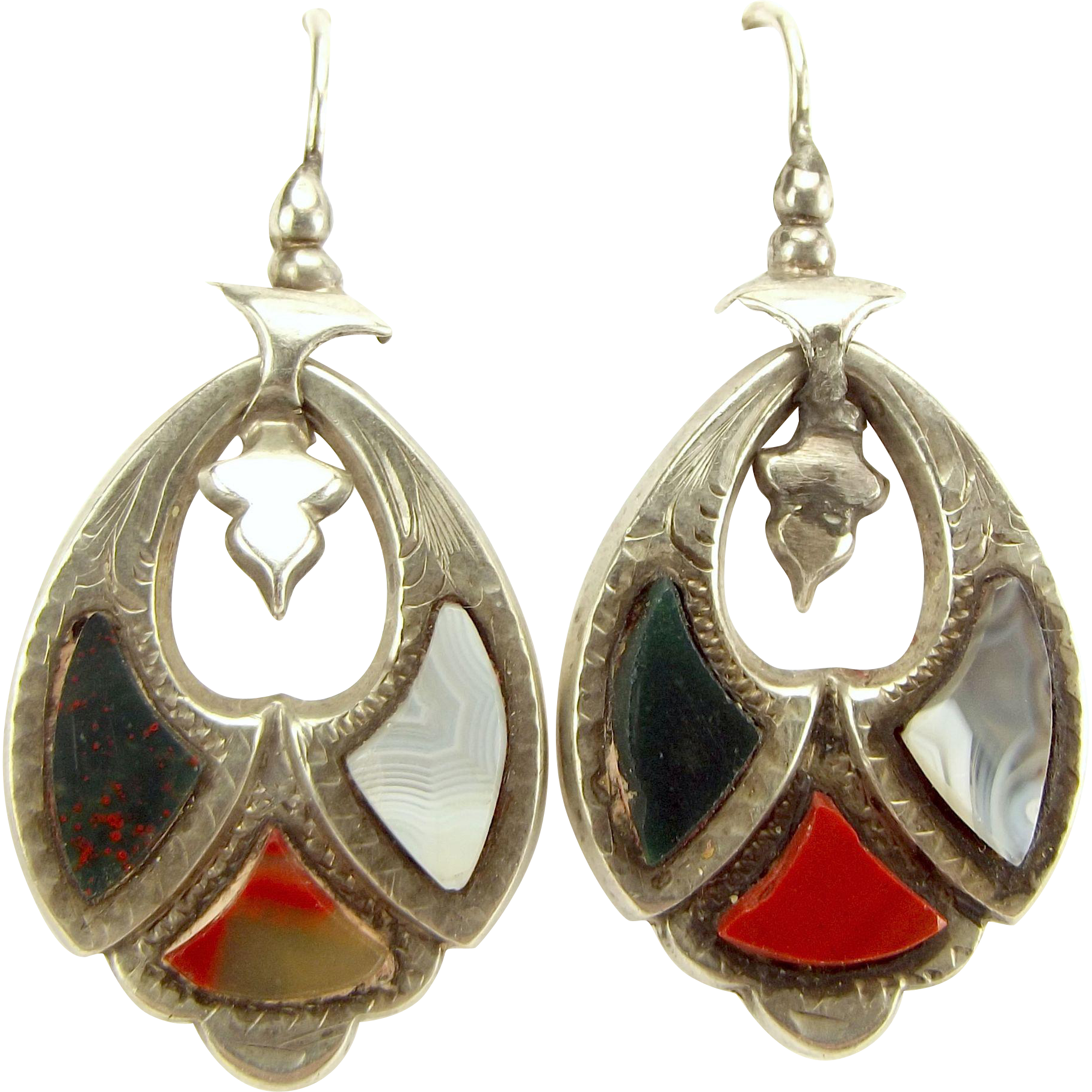 Antique VICTORIAN Silver Scottish AGATE Pierced Drop Earrings Ear Pendants