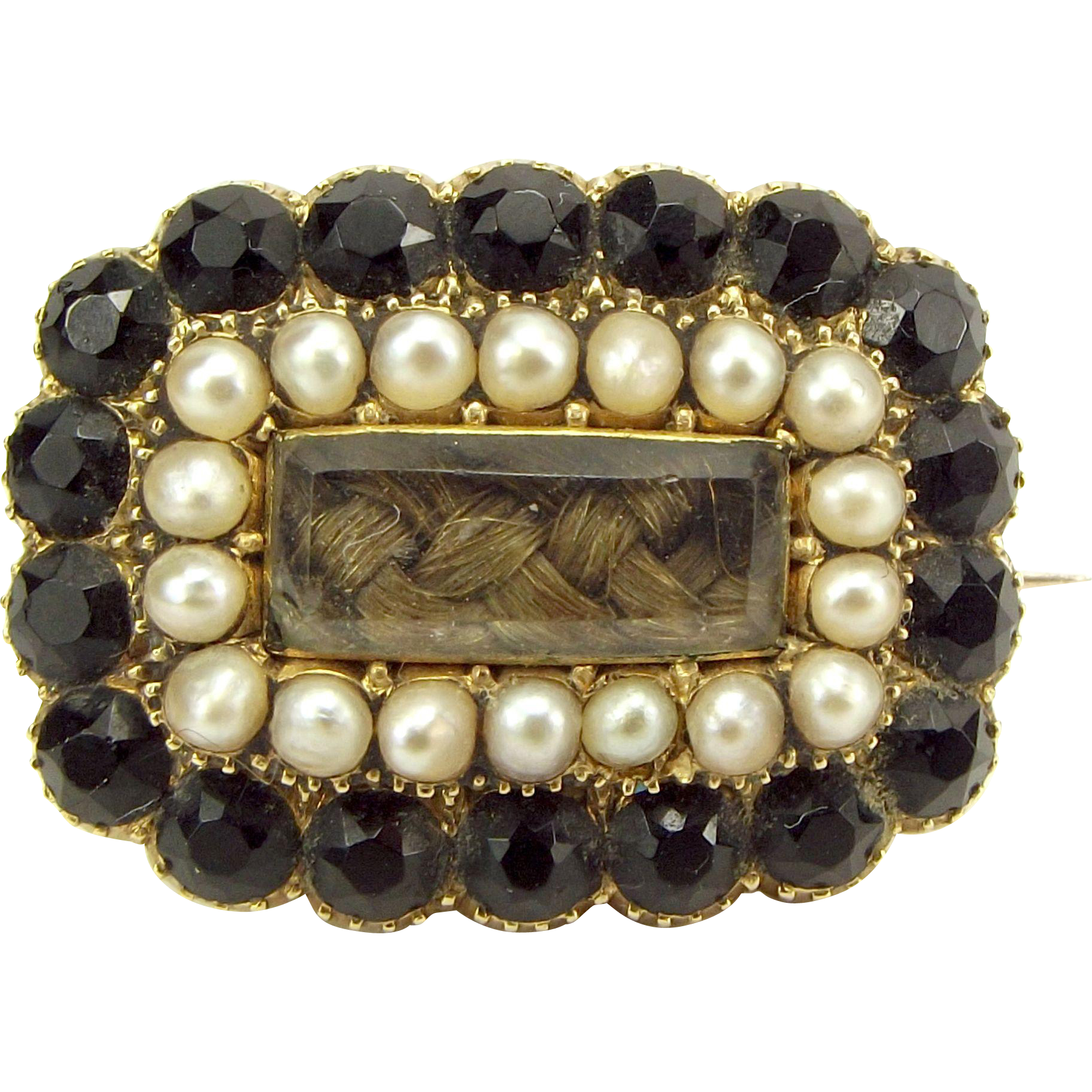 Georgian 15ct Gold, Seed Pearl, Jet, Hair MOURNING Brooch/Pin 1823