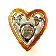 Stunning Antique Silver, Enamel & 3/4 or 0.75 carat Diamond RING Upcycled.