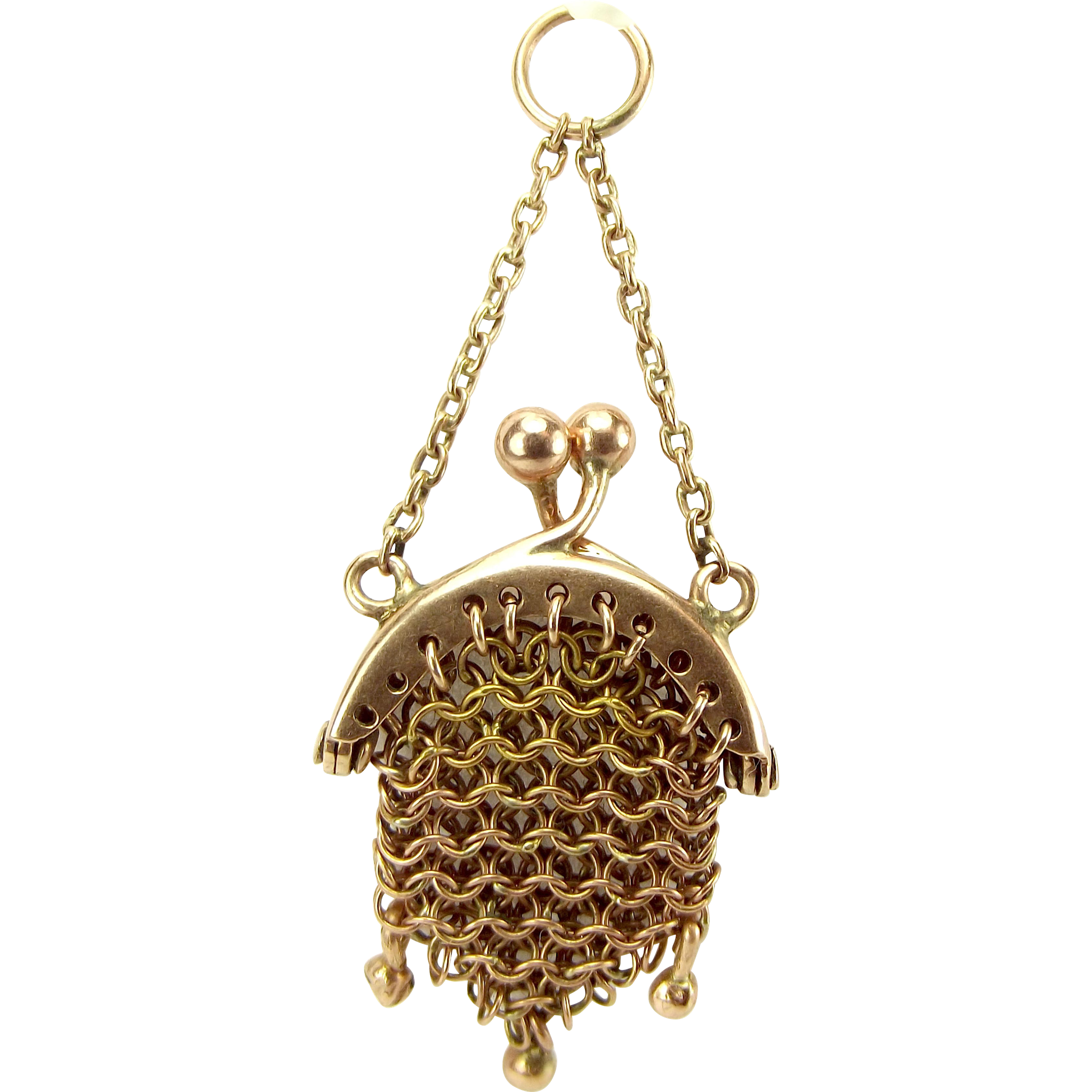 Victorian Miniature MESH Chain Mail PURSE Charm FOB Pendant Opens