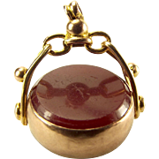 Vintage 9ct Rose Gold Spinning Charm FOB Pendant 1925 Carnelian/Onyx