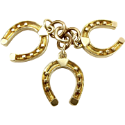 Unusual Vintage 9ct Gold Charm 3 HORSE SHOES 1964 Pub Name
