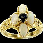 Vintage 9ct Gold OPAL & SAPPHIRE Ring Birmingham 1976 Hallmark