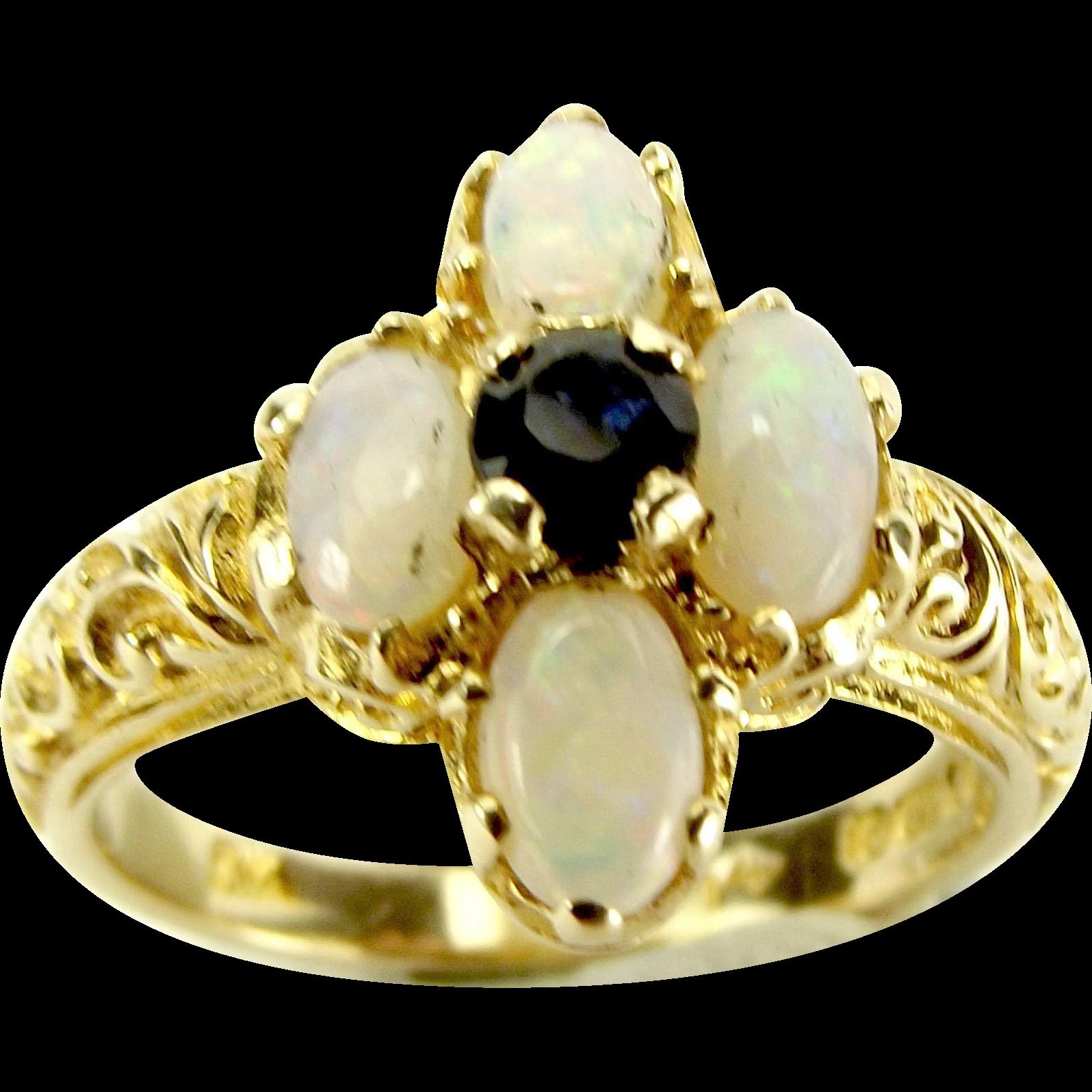 Vintage 9ct gold opal sapphire ring birmingham 1976 for Sell jewelry birmingham al