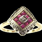 Vintage 9ct GOLD Ruby & Diamond Dress RING