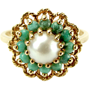 Vintage 9ct Gold, Turquoise & Faux Pearl Cluaster RING 1975