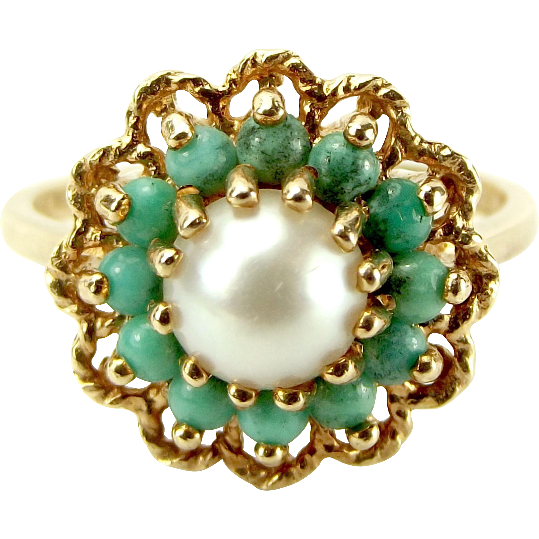Vintage 9ct Gold, Turquoise & Faux Pearl Cluster RING 1975
