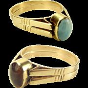 Unusual 14K Gold Double FLIP RING Larimar? & Amber