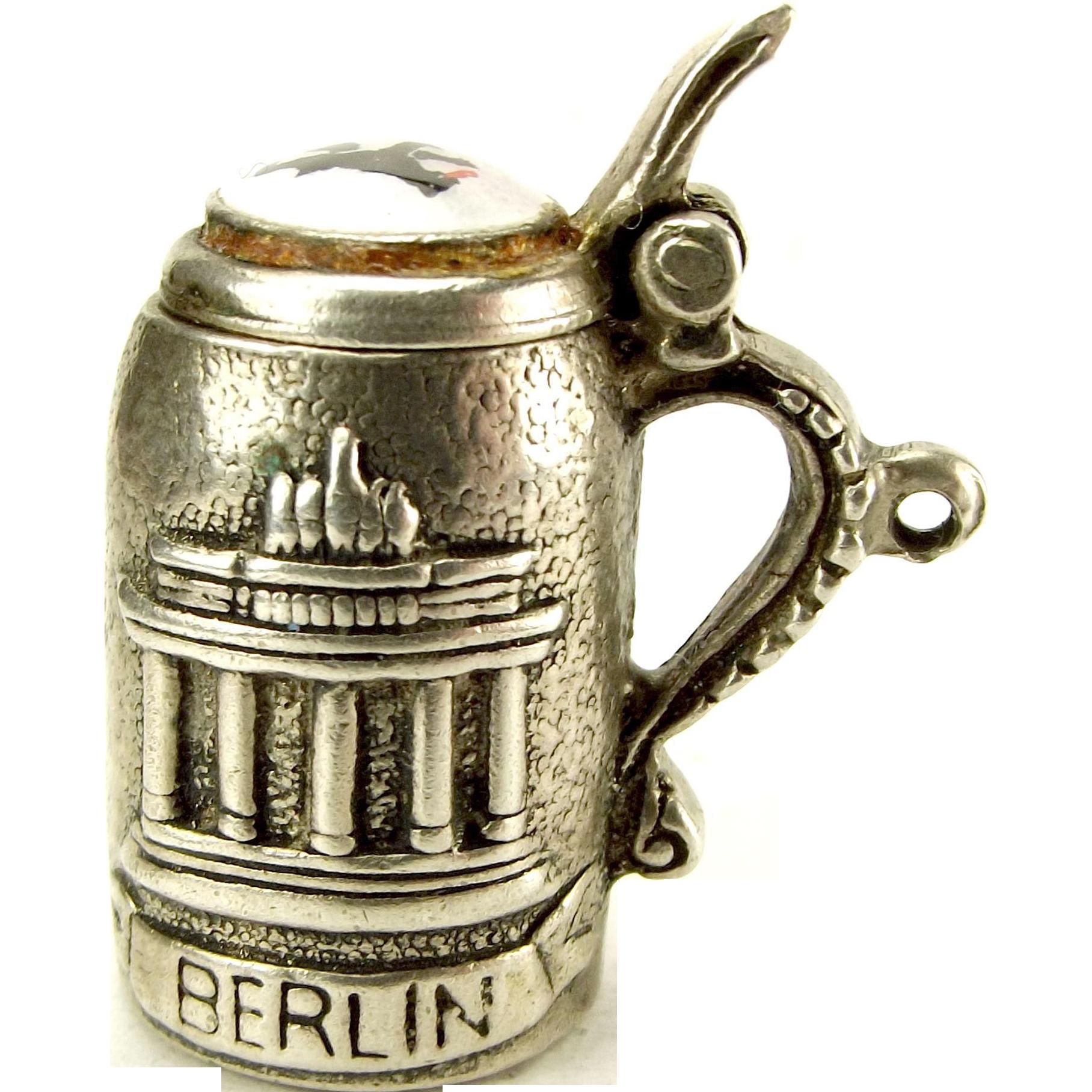 Vintage 835 Silver Enamel Lid BERLIN BEAR Beer Stein Charm Opens