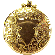 "EDWARDIAN Ornate 9ct Gold LOCKET Opens 18"" Gold Chain"