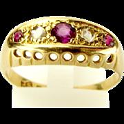 Hallmarked 1918 Vintage 18ct Gold, RUBY & DIAMOND Ring
