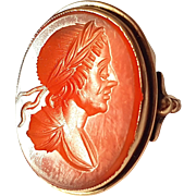 Antique Georgian 9ct Gold Carnelian Intaglio RING Reverse Cabochon
