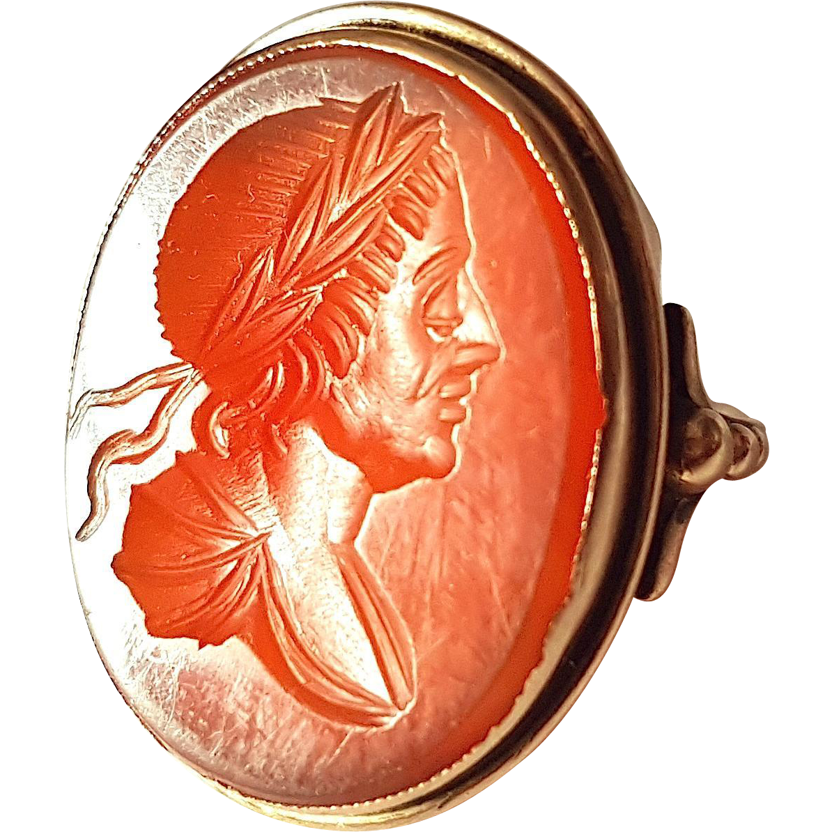 Antique Georgian 9ct Gold Carnelian Intaglio RING Reverse Cabochon