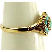 Vintage 9ct Gold RING Set with TURQUOISE Cluster
