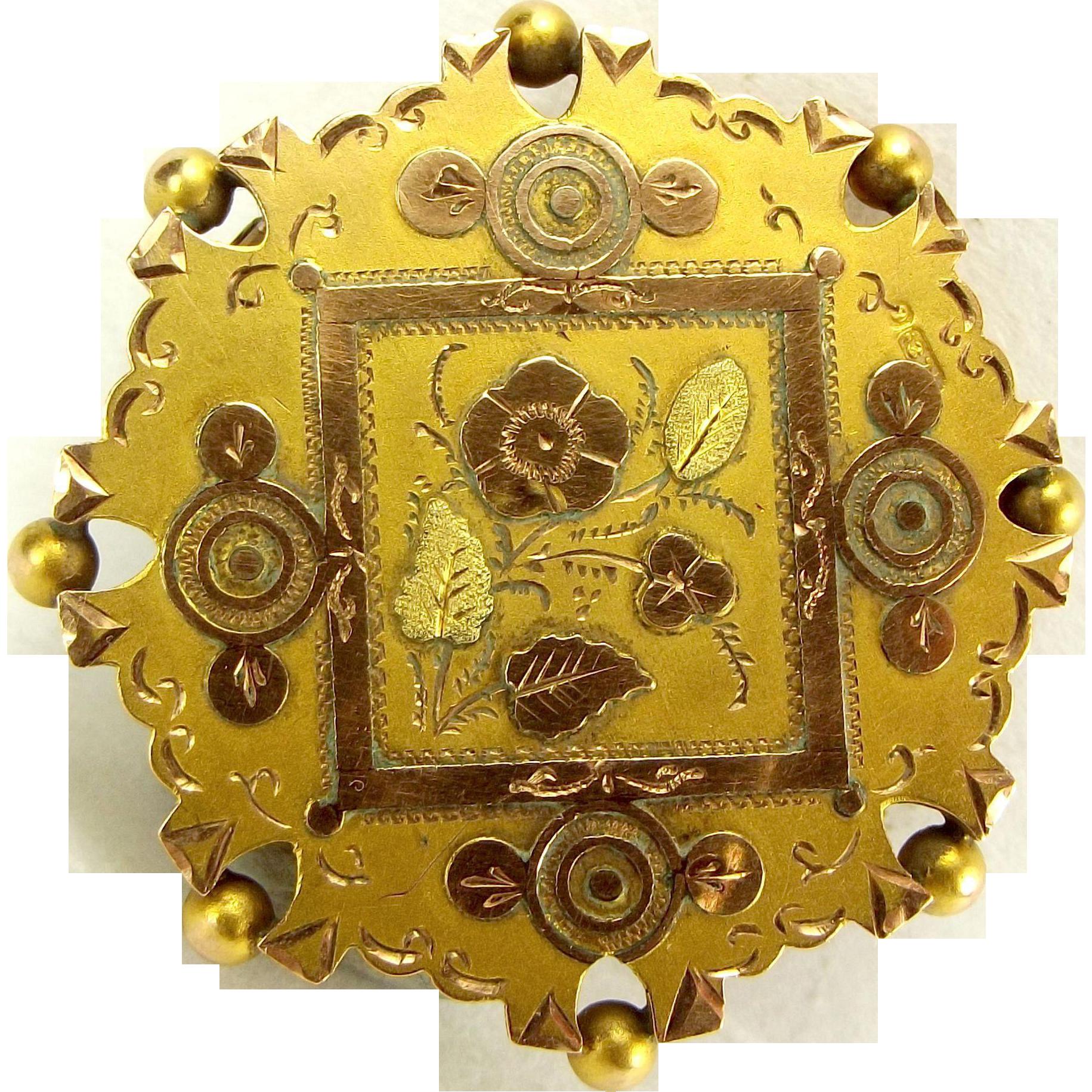 Antique 1889 VICTORIAN 9ct Gold Glazed LOCKET Brooch Perfect Pendant Conversion