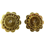 Victorian 15ct Gold EARRINGS Bead Work & Pie Crust Edging