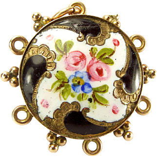 Victorian 9ct Gold MOURNING Pendant LOCKET Enamel Front Glazed Back