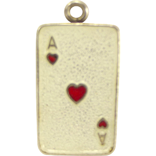 BERNARD INSTONE Silver Enamel Playing CARD Charm Ace Of Hearts