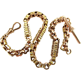 Ornate Victorian 9ct Rose & Yellow Gold ALBERT Watch Chain T BAR Heavy 30.3g