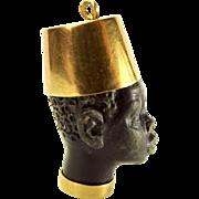 1950's Vintage 18ct Gold Ebony BLACKAMOOR Head Charm FOB Pendant