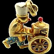 Vintage 9ct Gold Charm Enamel Ice Cream EIS CART Wheels Turn 1970
