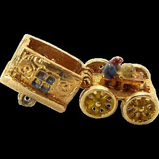 Vintage 9ct Gold GYPSY CARAVAN Charm Opens Enamel FORTUNE Teller 1978