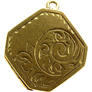 Vintage 9ct Gold LOCKET Charm Fob Or PENDANT Opens 1967