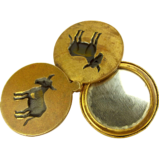 Rare Antique Three ASSES Enamel Slide Locket Charm With MIRROR
