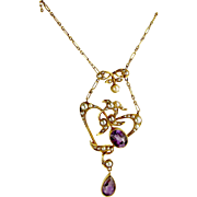 Victorian 15ct Gold Seed Pearl and Amethyst LAVALIERE Necklace