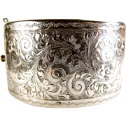 WIDE Vintage Silver Engraved CUFF Bracelet/Bangle 1961
