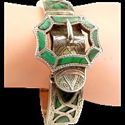 Victorian Scottish MALACHITE & Silver Bracelet BUCKLE Feature
